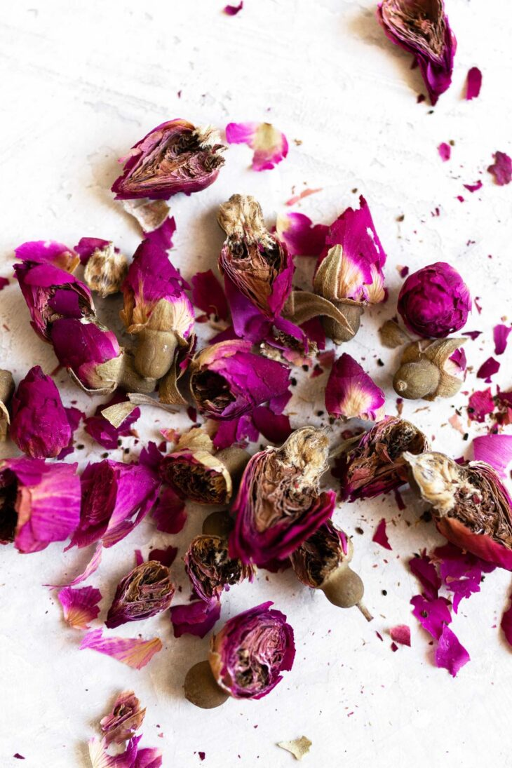 Roughly chopped dried rose buds.