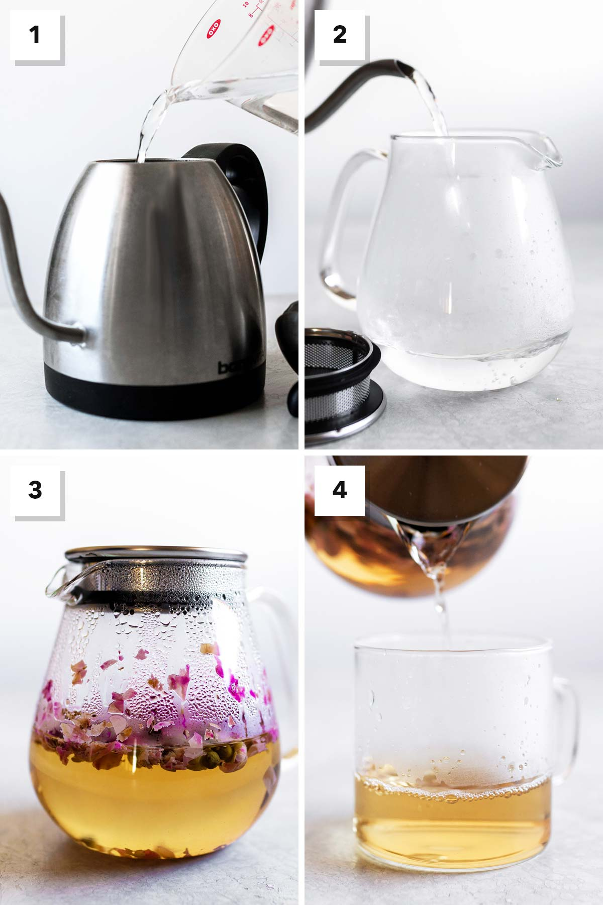 Four photos showing the steps to make rose tea.