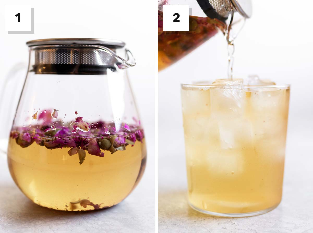 Two photos showing how to make cold brewed rose tea.