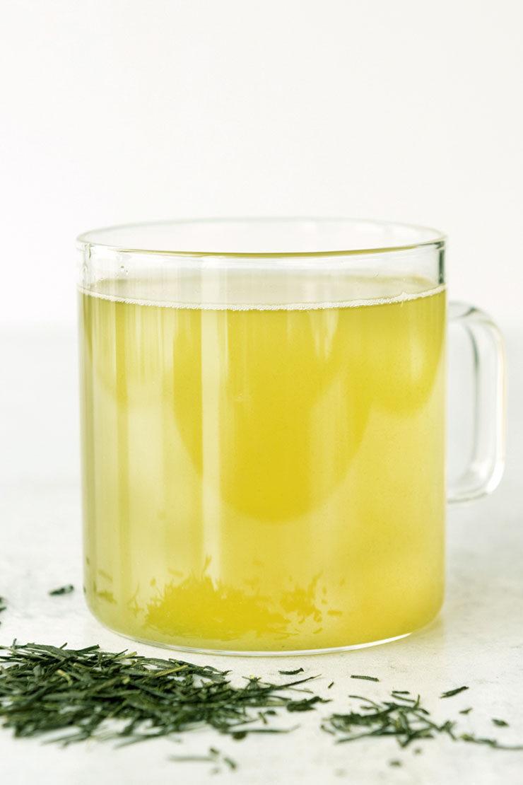 Sencha tea in glass mug