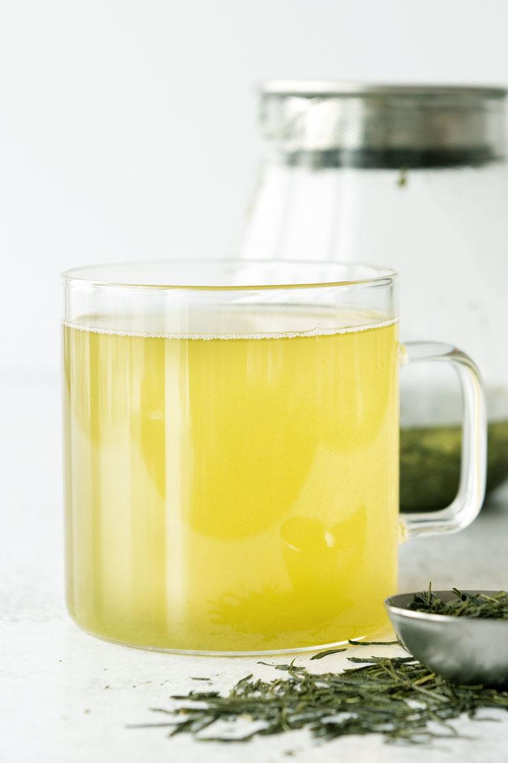 Sencha tea in a mug.