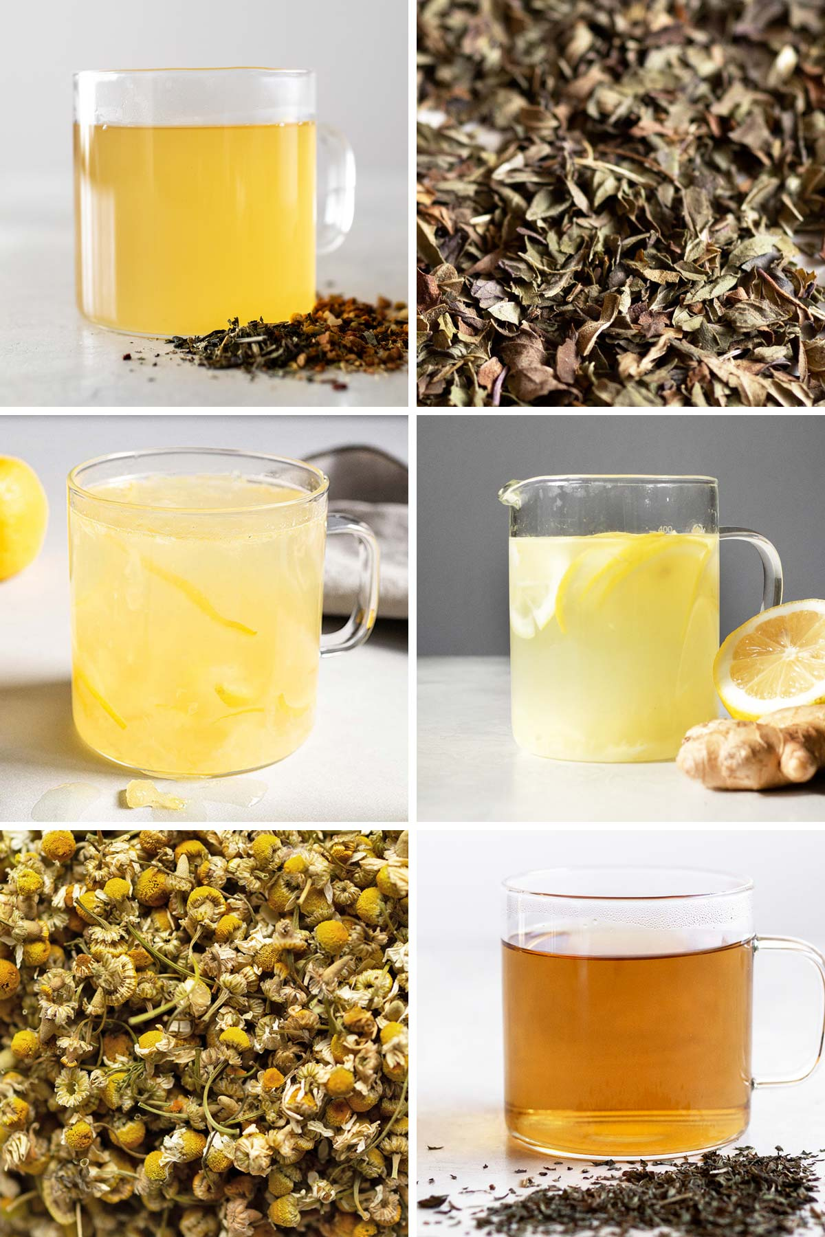 6 photos showing different teas in a glass mug and close up of tea leaves.