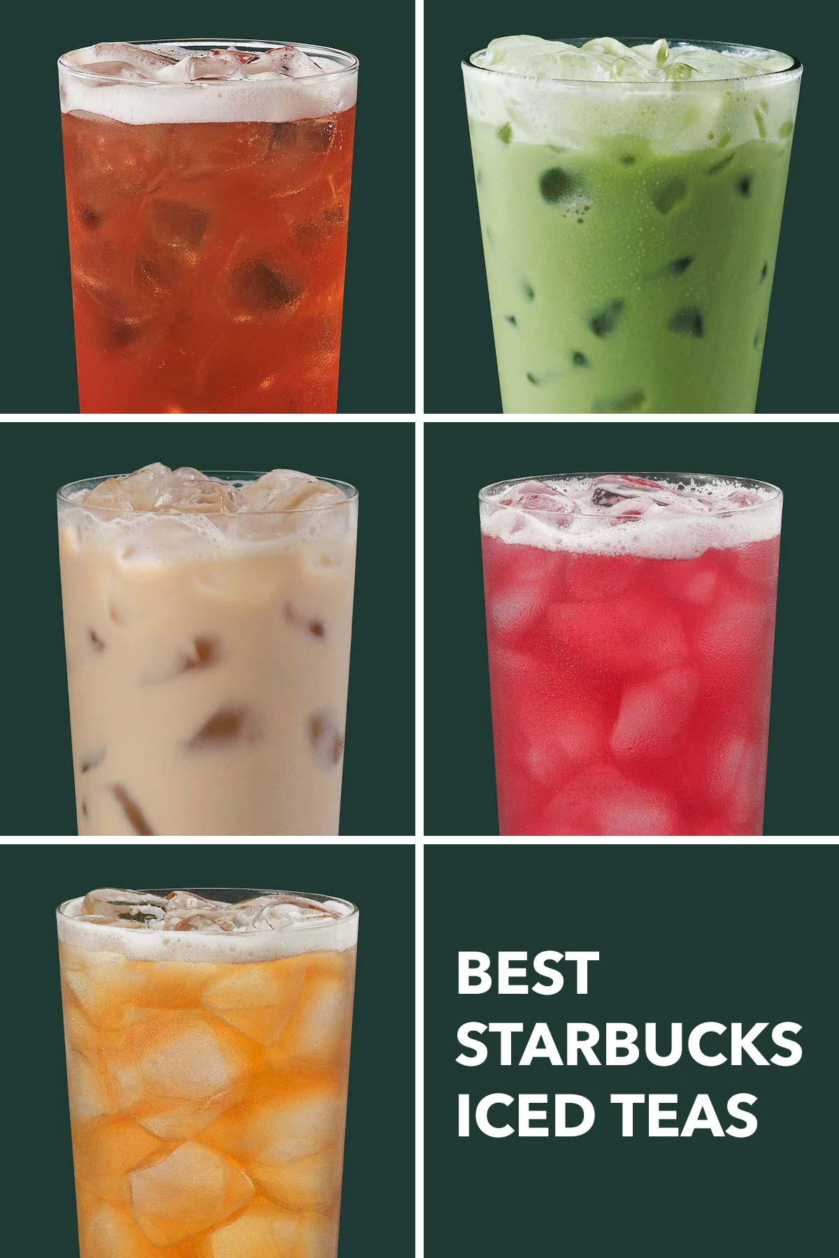 Six photo grid showing five different Starbucks iced teas.
