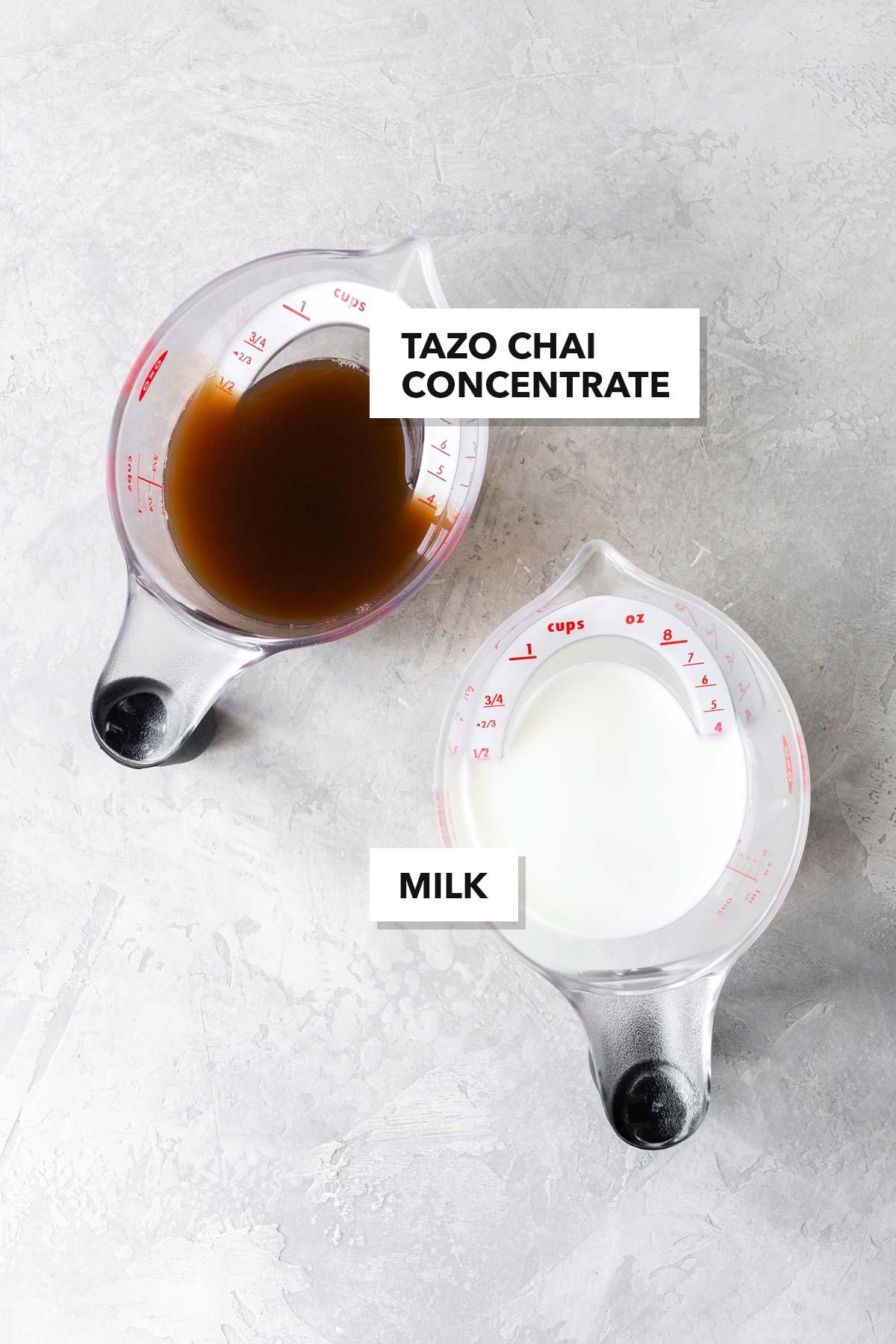 Chai Latte ingredients.