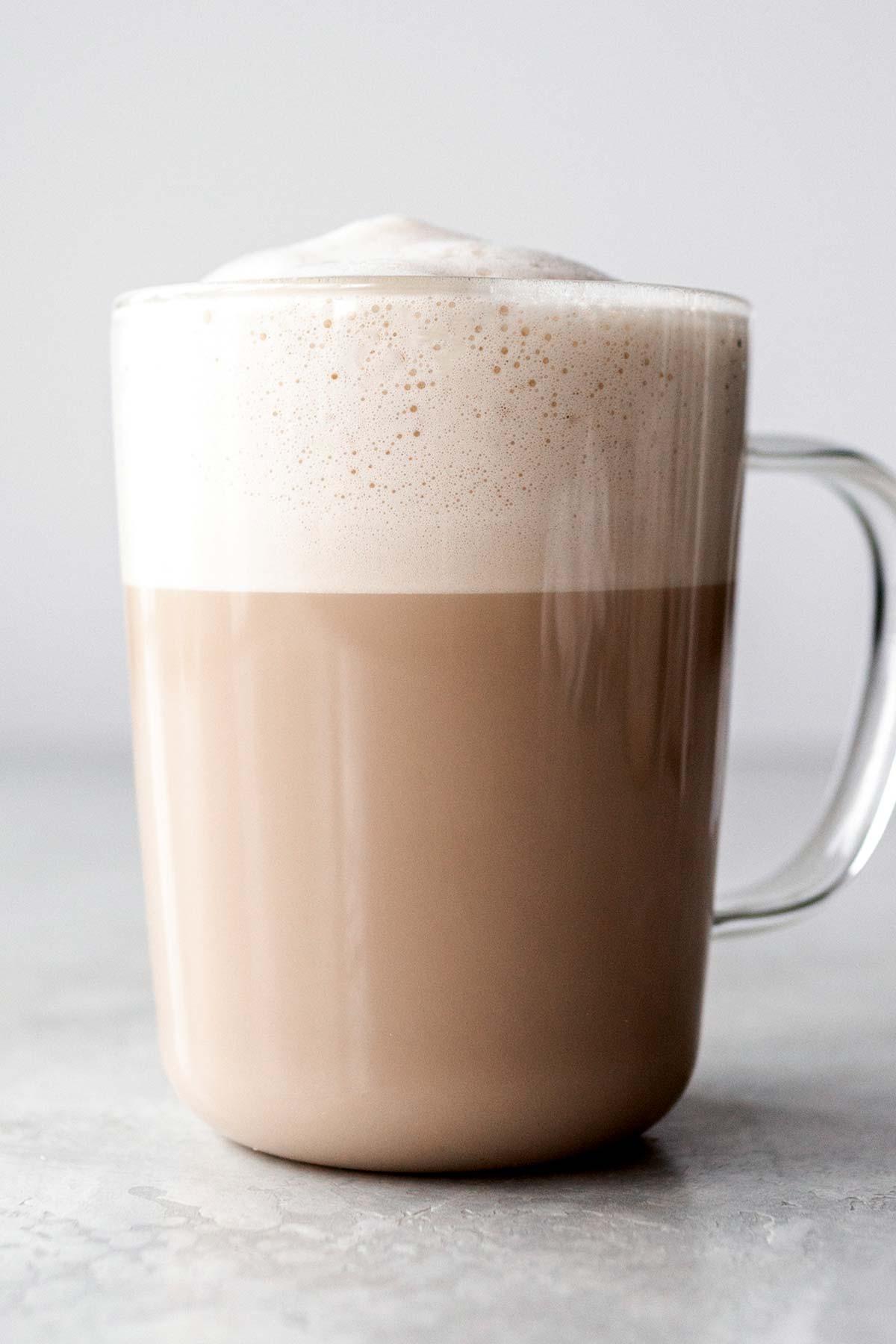 Chai Latte in a glass mug.