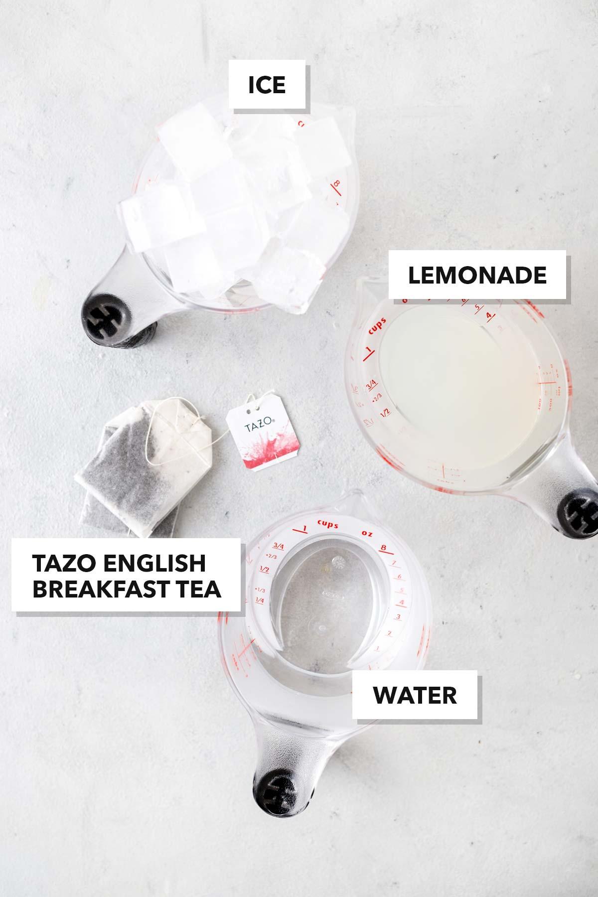Iced black tea lemonade recipe ingredients.