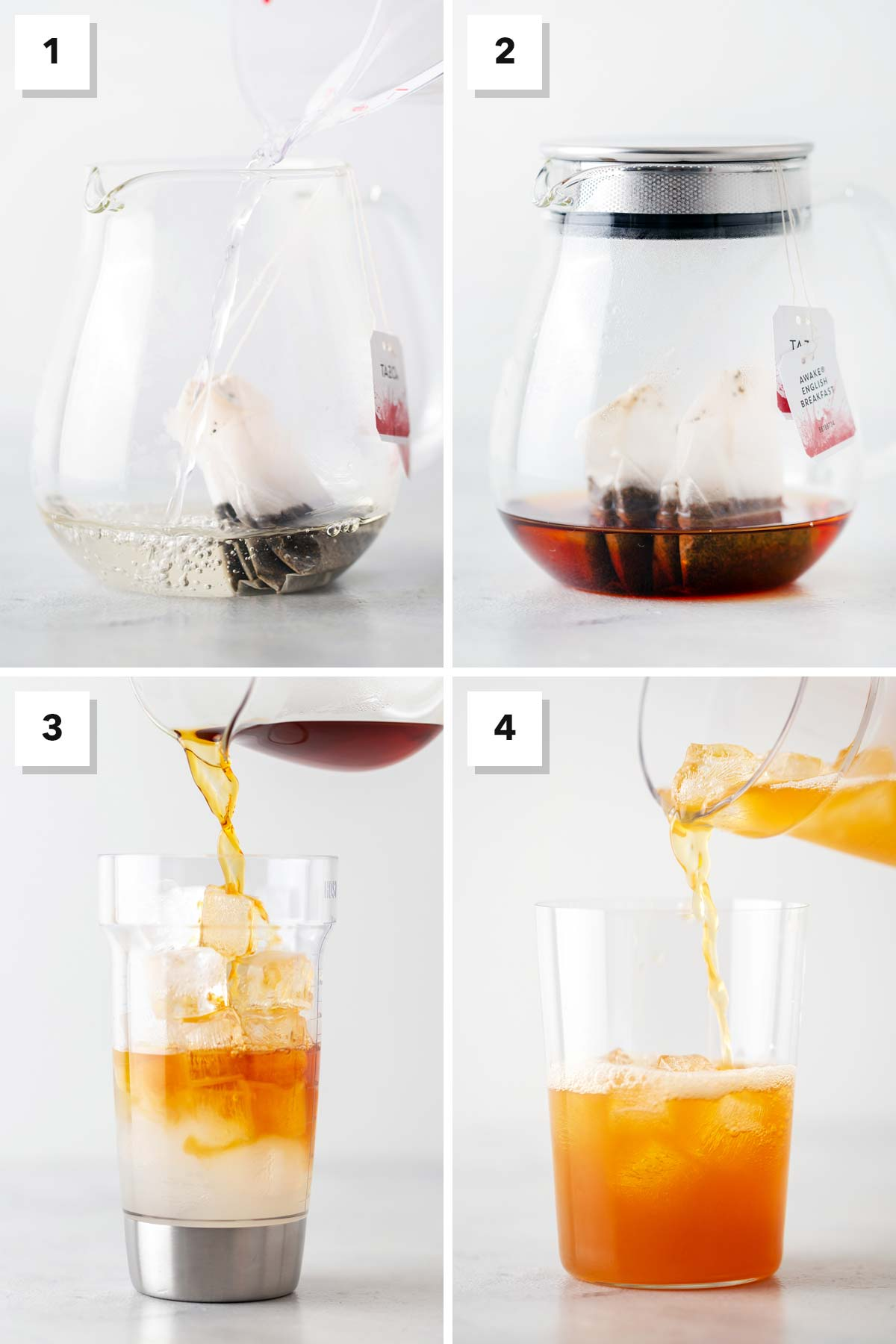 Four photo collage showing steps to make Iced Black Tea Lemonade.
