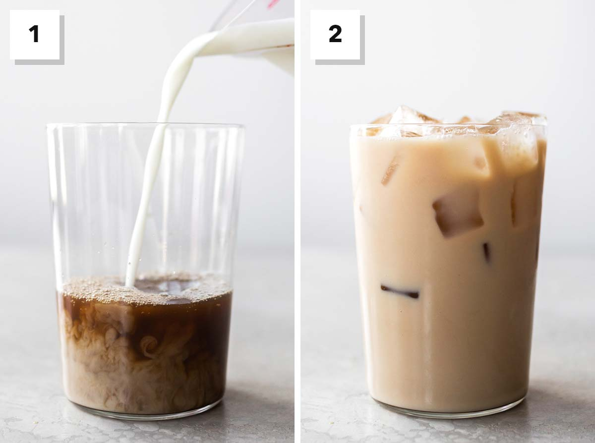 Two photo collage showing the steps to make Starbucks Iced Chai Tea Latte at home.