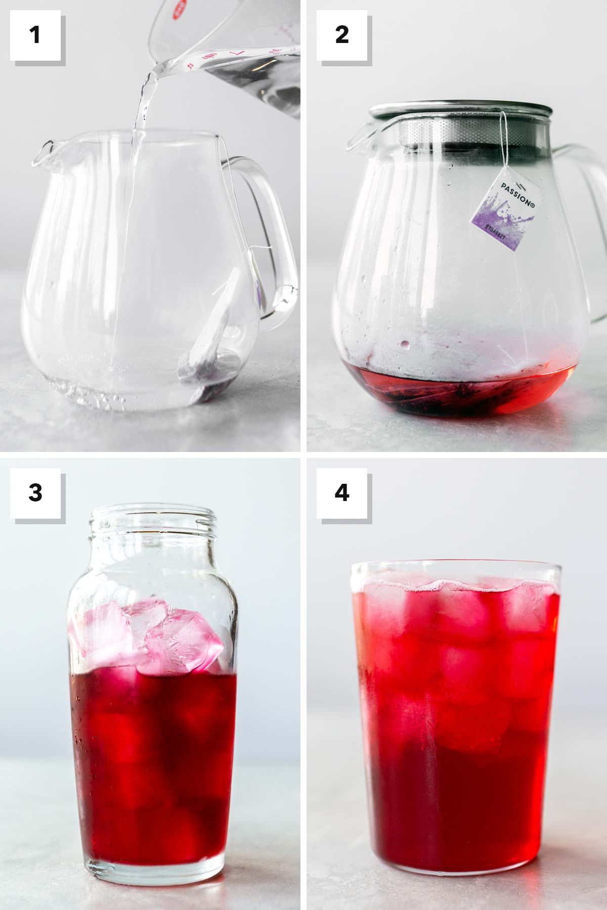 Four photo collage showing steps to make Iced Passion Tango Tea at home.