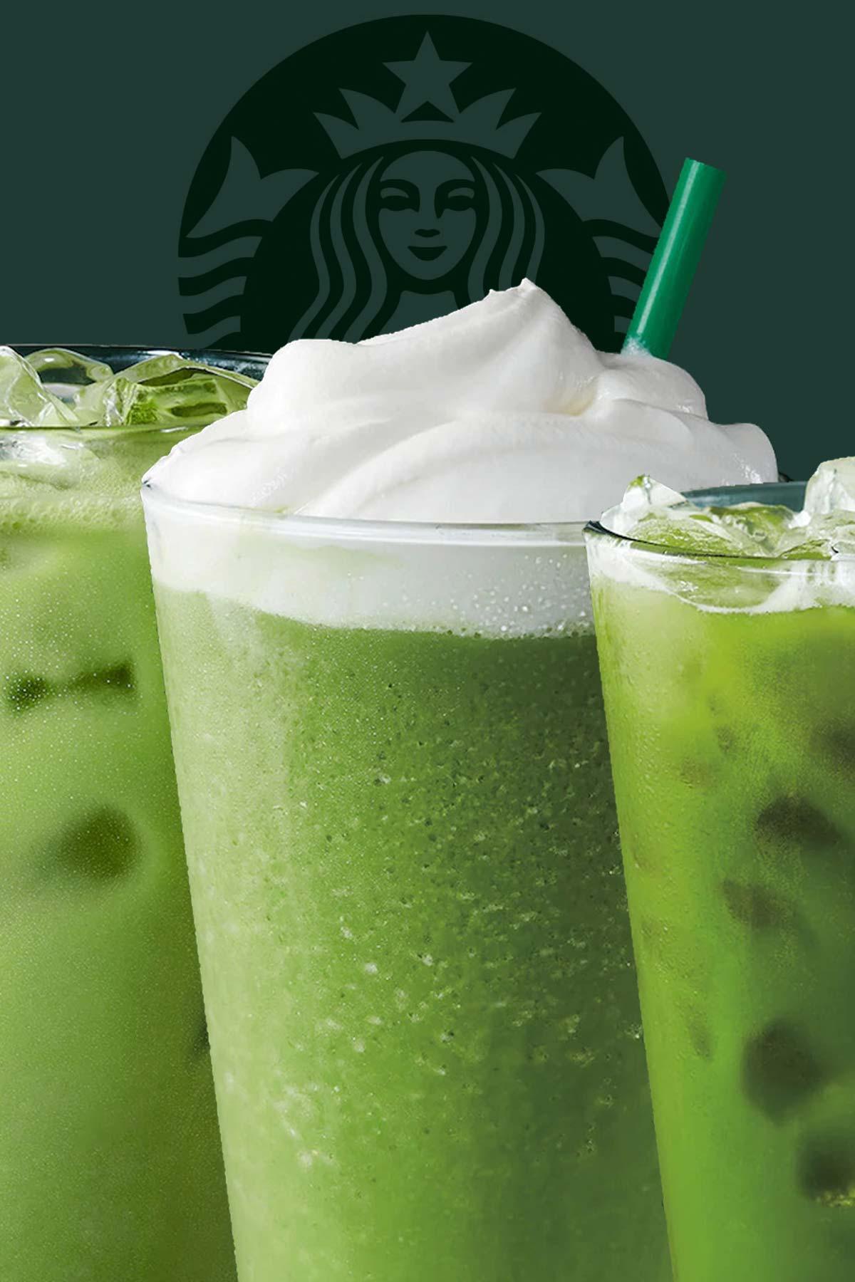 Three Starbucks drinks in glass cups.