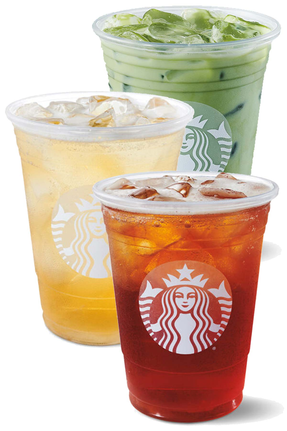 3 Starbucks cups with different iced tea drinks.
