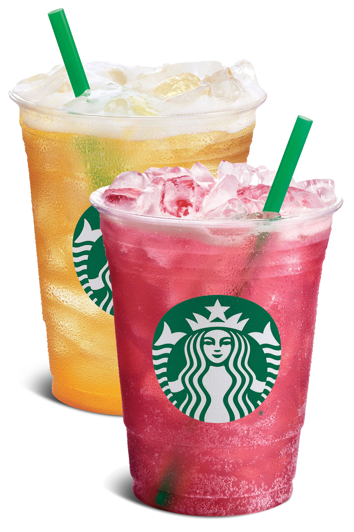 Two Starbucks iced drinks with green straws.