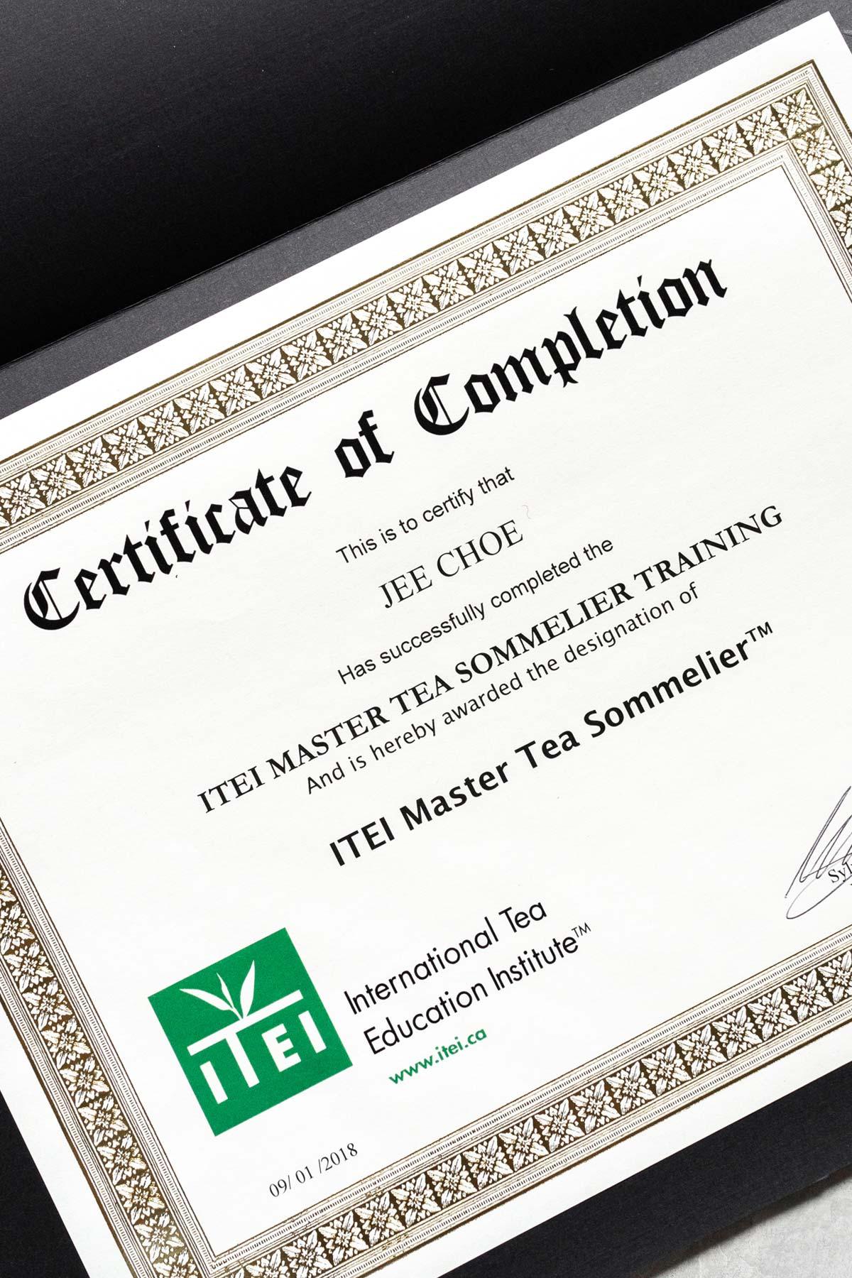 Tea Sommelier certification.
