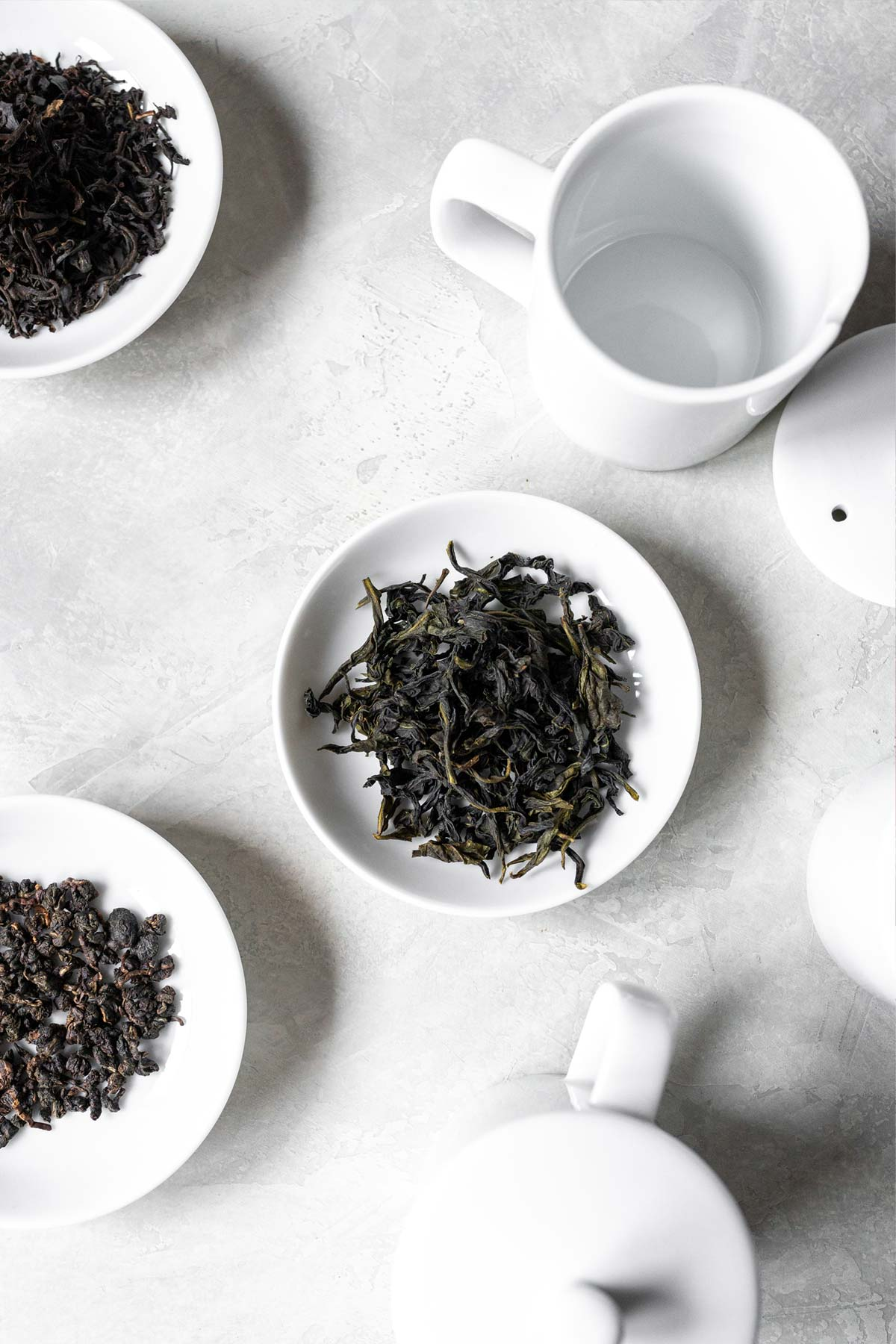 Loose tea and cupping sets.