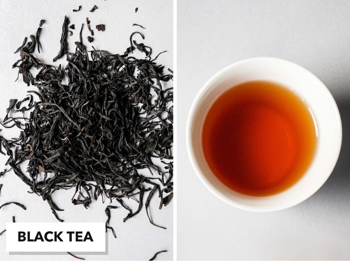 Two photo collage with loose black tea on the left and brewed tea in a small cup on the right.