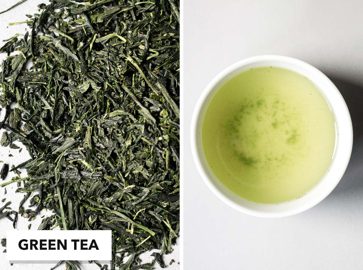 Two photo collage with loose green tea on the left and brewed tea in a small cup on the right.