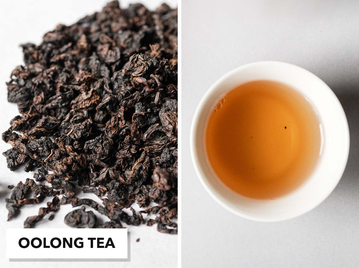 Two photo collage with loose oolong tea on the left and brewed tea in a small cup on the right.