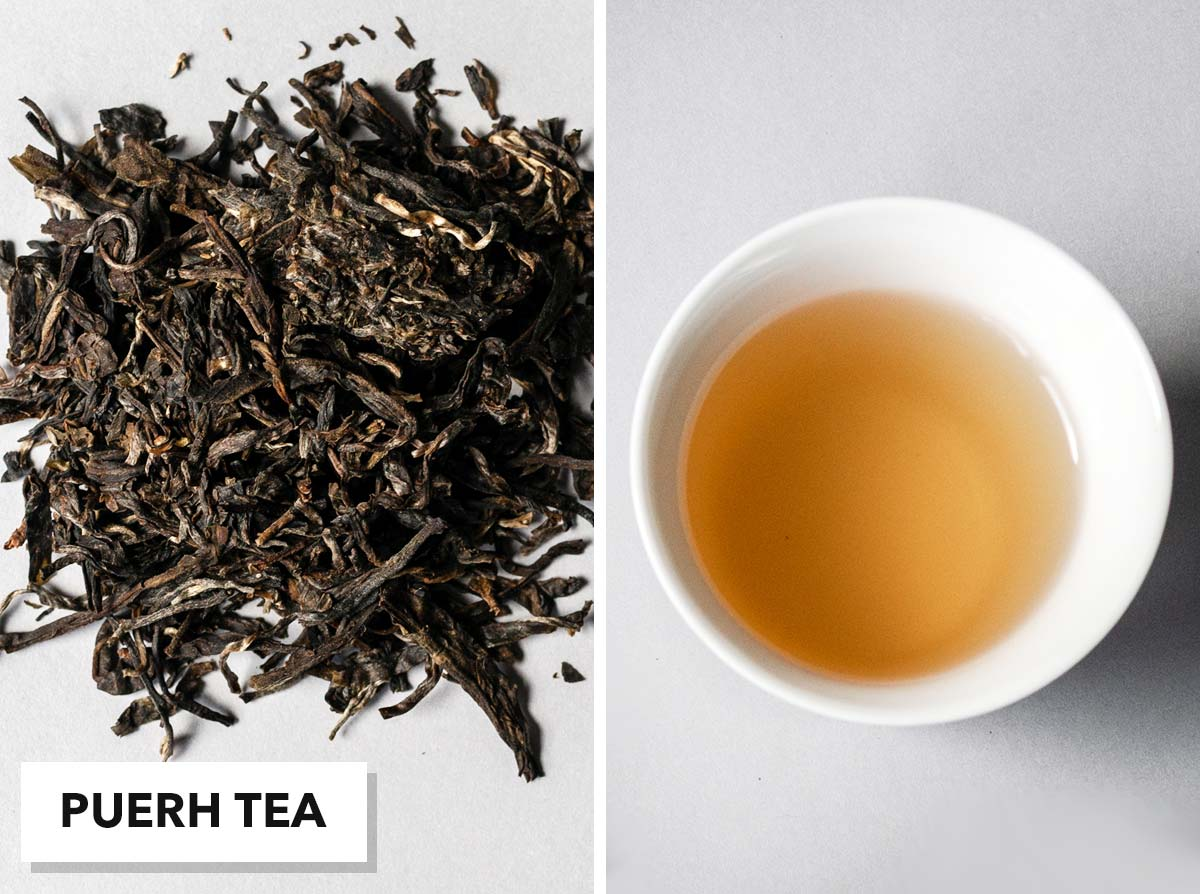 Two photo collage with loose puerh tea on the left and brewed tea in a small cup on the right.