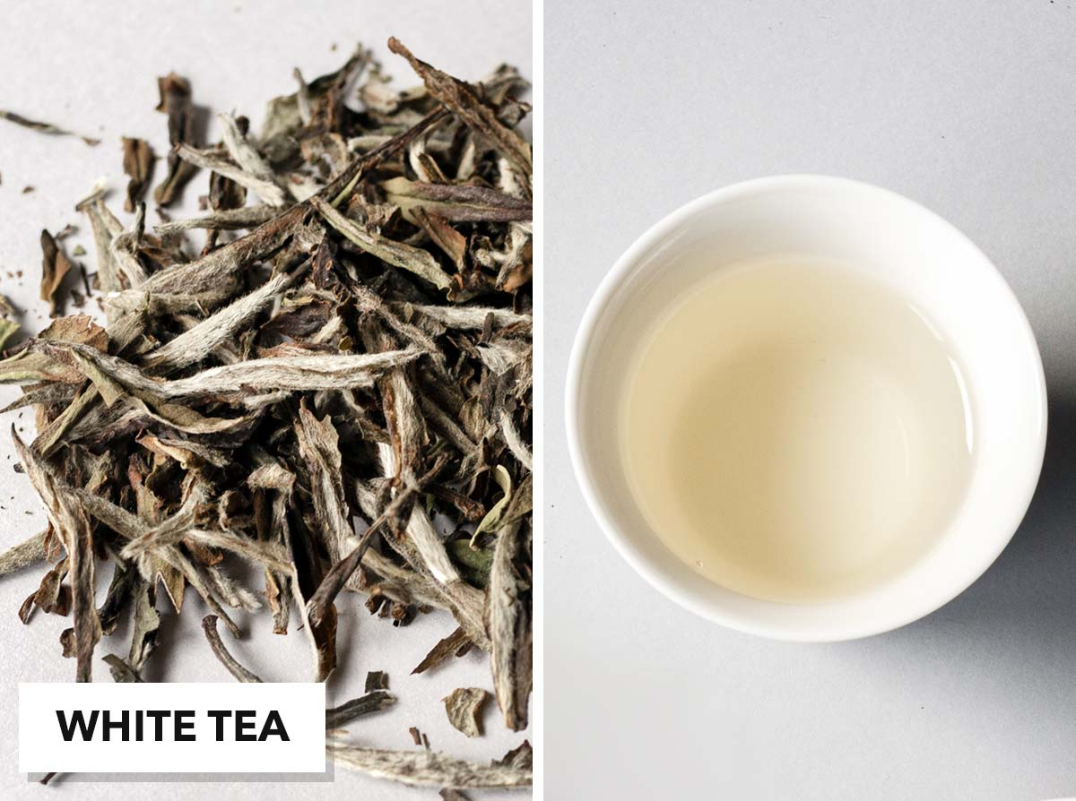 Two photo collage with loose white tea on the left and brewed tea in a small cup on the right.