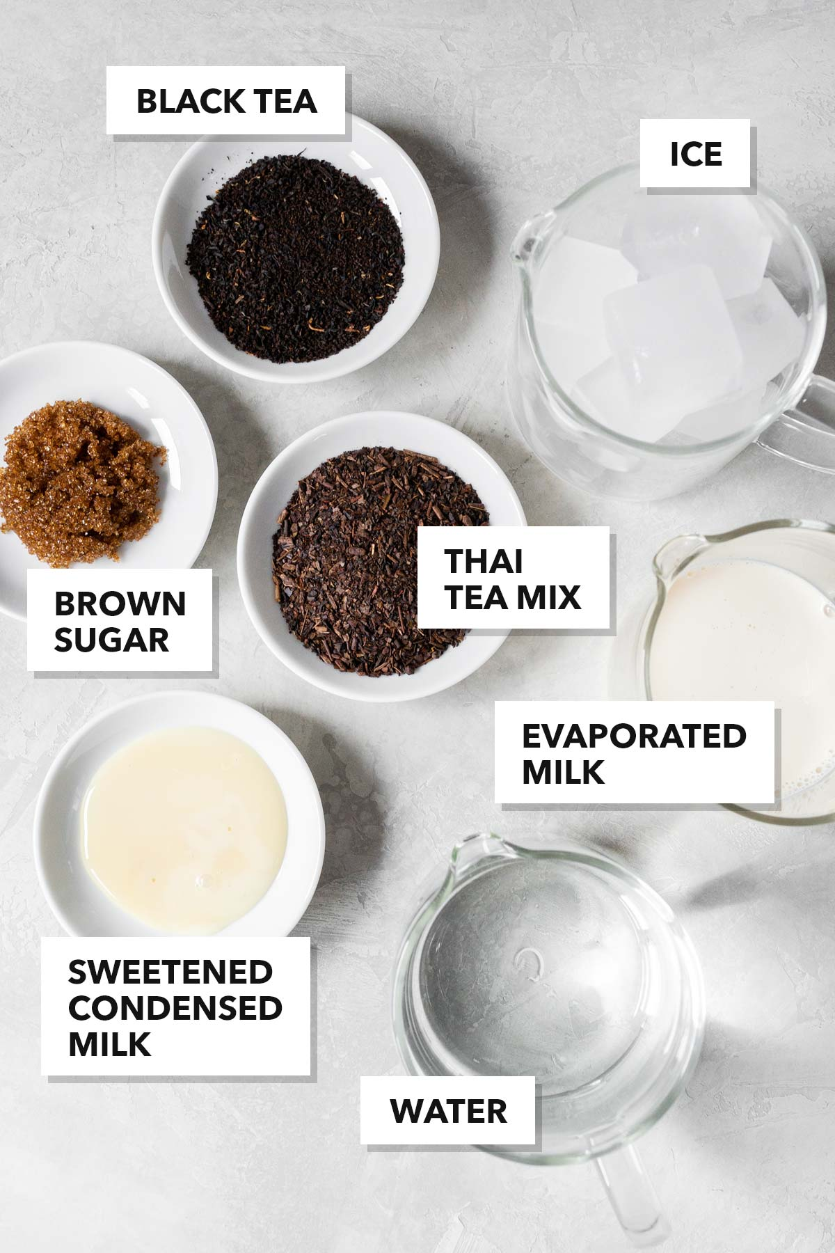 Thai iced tea ingredients.