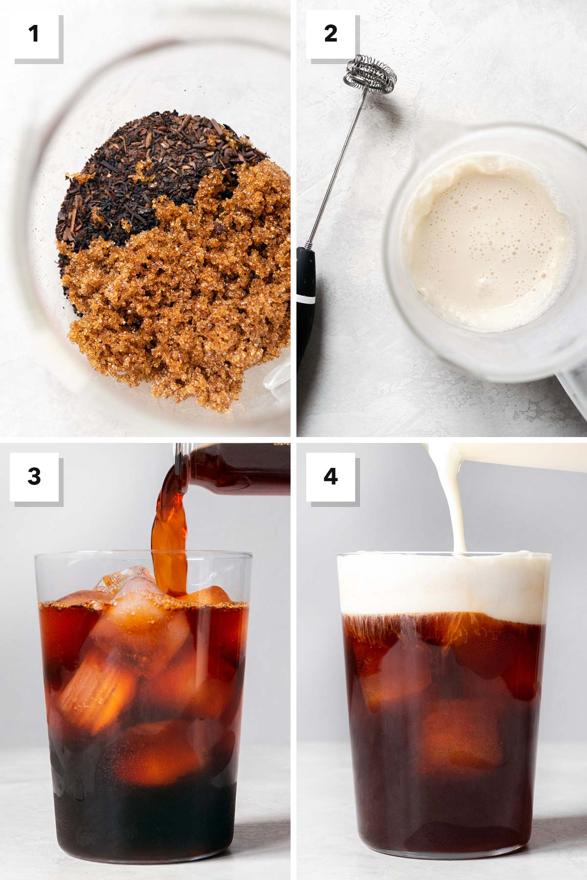 Four photo collage showing steps to make Thai Iced Tea.