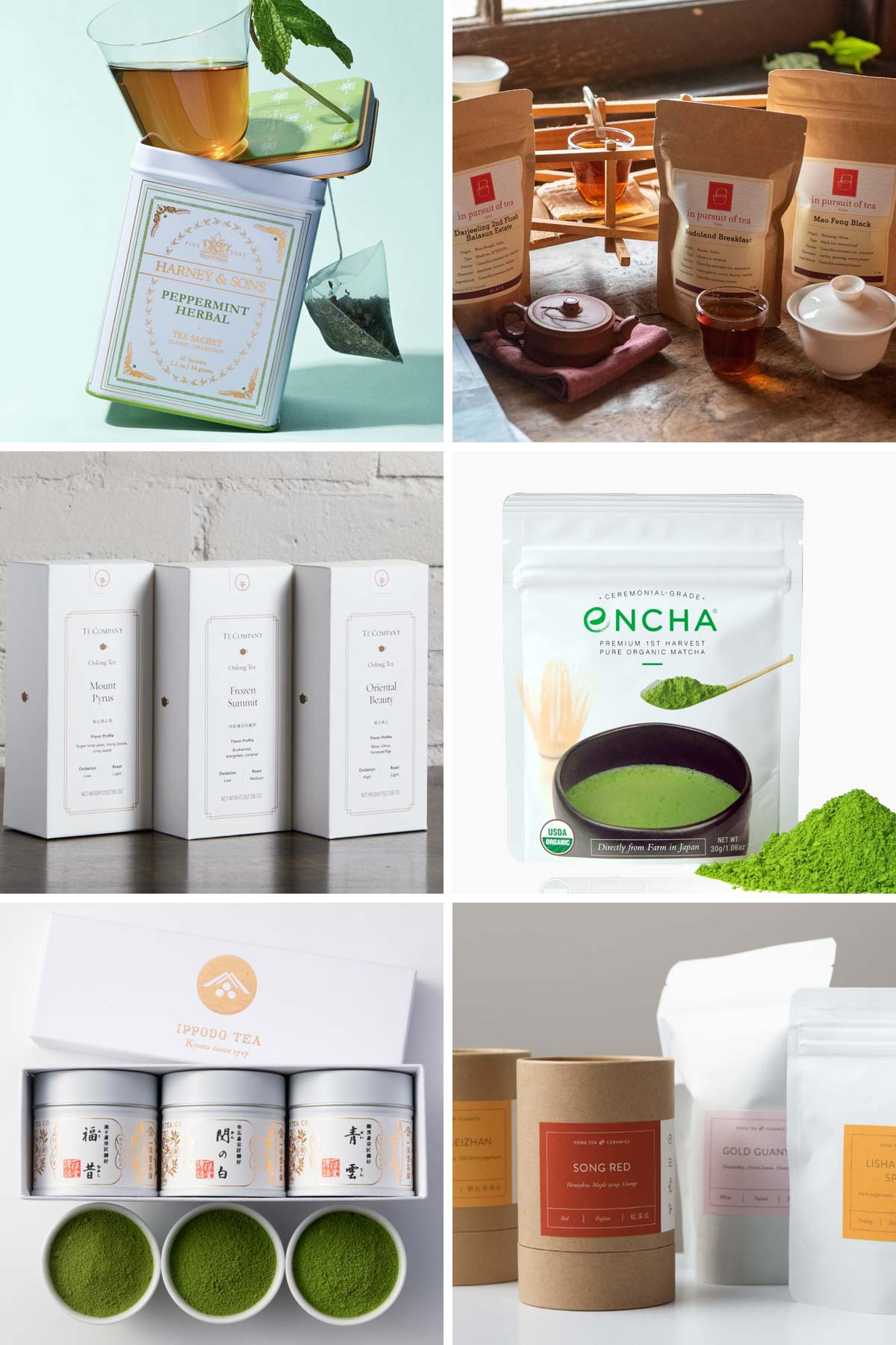 Six photos of different tea packages from six tea companies.