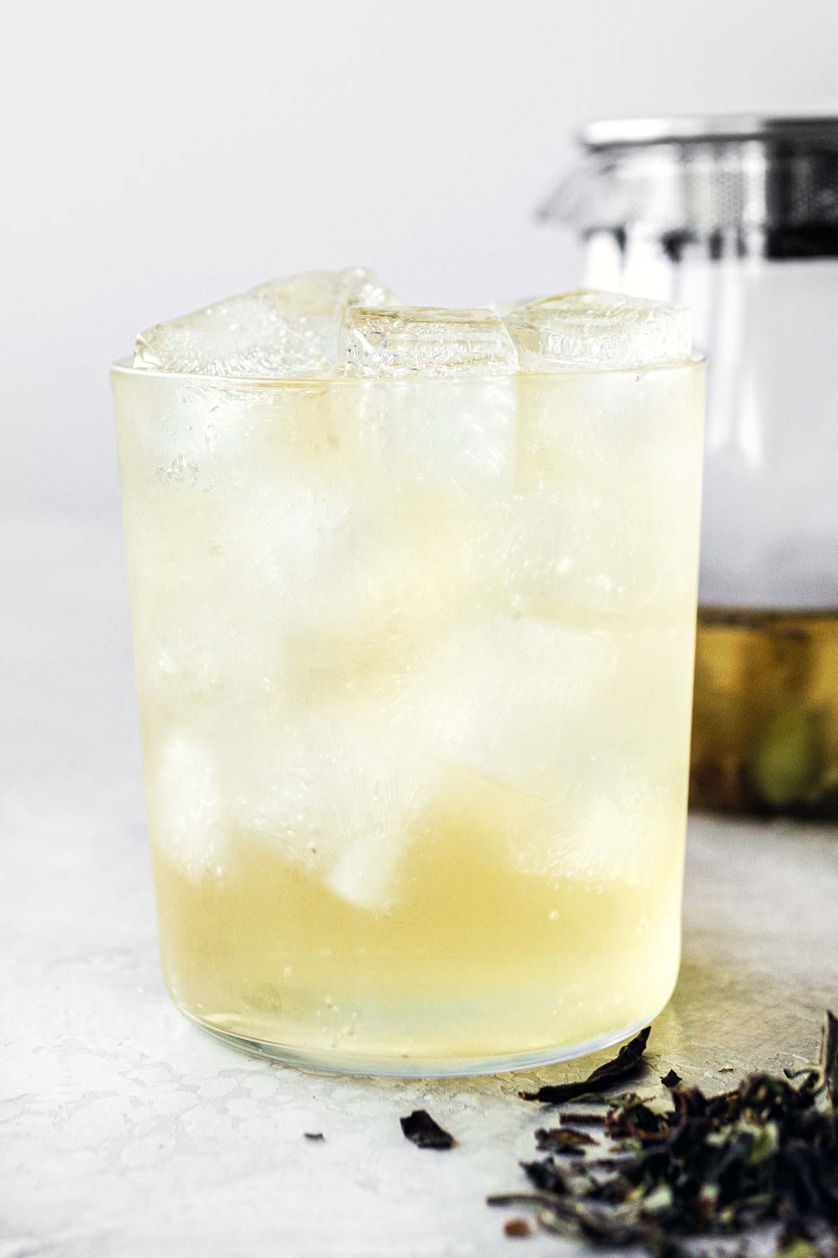 Iced White Peony tea in a glass.