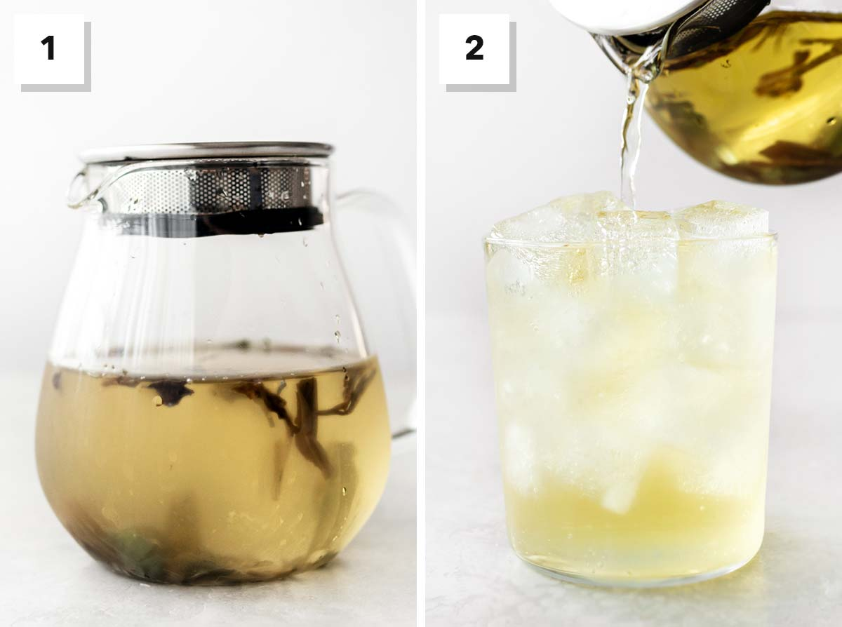 Two photos showing steps to make cold brewed White Peony tea.