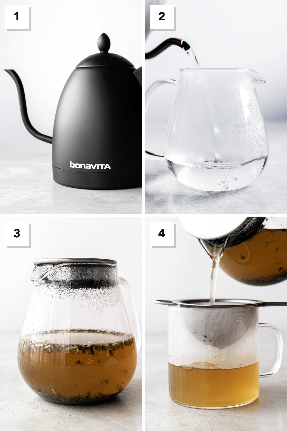 Four photo collage showing steps to make hot yerba mate tea.