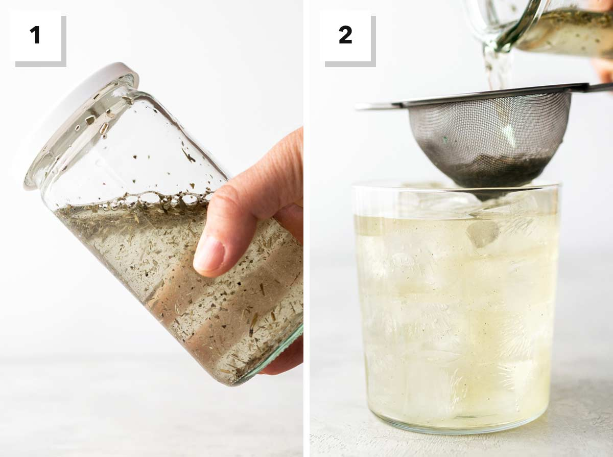Two photo steps to make cold brew iced yerba mate tea.